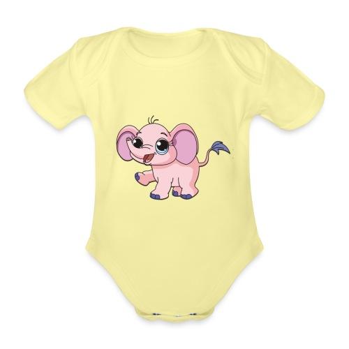 Cute elephant - Organic Short-sleeved Baby Bodysuit