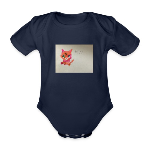 Little pet shop fox cat - Organic Short-sleeved Baby Bodysuit