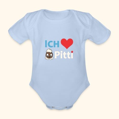 Pittiplatsch Ich liebe Pitti auf dunkel (blau/crem - Baby Bio-Kurzarm-Body