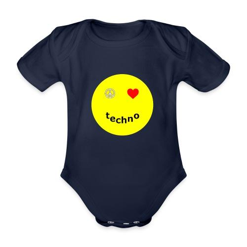 camiseta paz amor techno - Body orgánico de manga corta para bebé