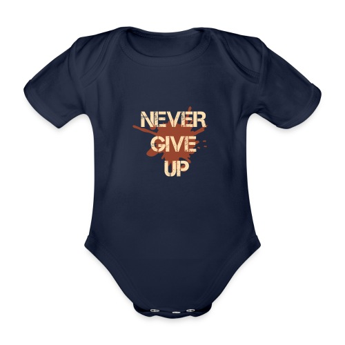 Never give up - Organic Short-sleeved Baby Bodysuit