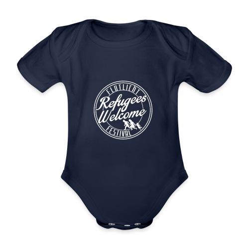 logo_refugees_weiß - Baby Bio-Kurzarm-Body
