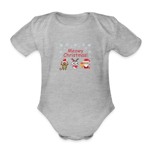 Meowy Christmas - Organic Short-sleeved Baby Bodysuit
