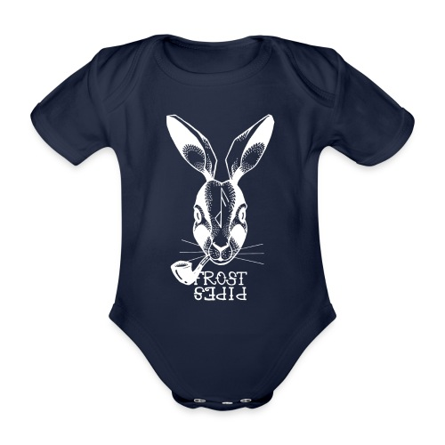 Frost Pipes White Bunny - Organic Short-sleeved Baby Bodysuit