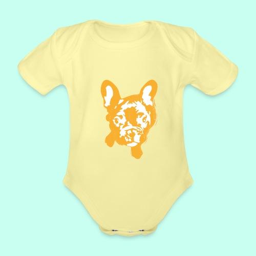Bulldogge Beige schauend - Baby Bio-Kurzarm-Body
