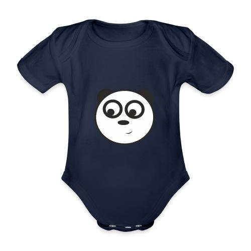 panda face /cara de panda - Body orgánico de maga corta para bebé