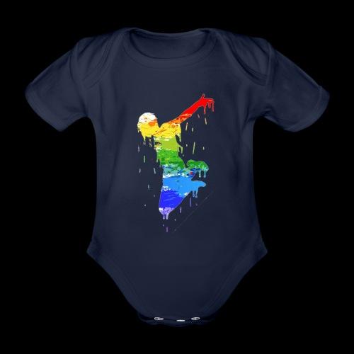 jump design paint - Organic Short-sleeved Baby Bodysuit