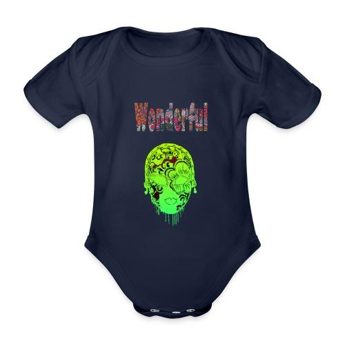 Maske mit Wonderful Schriftzug - Baby Bio-Kurzarm-Body