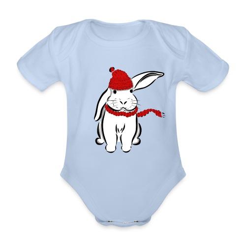 Kaninchen Hase Mütze Schal Schlappohr Schneehase - Baby Bio-Kurzarm-Body