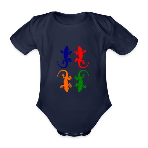 Farbige Geckos - Baby Bio-Kurzarm-Body