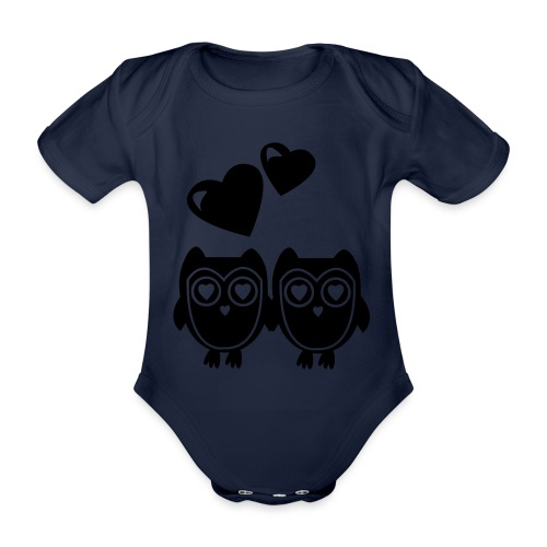 verliebte Eulen - Baby Bio-Kurzarm-Body