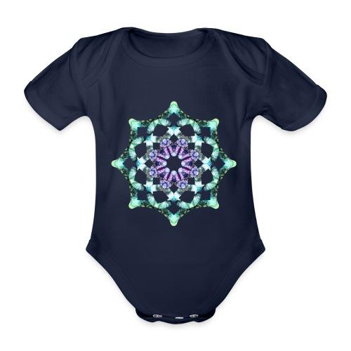 Yoga Mandala Symbol grün - Baby Bio-Kurzarm-Body