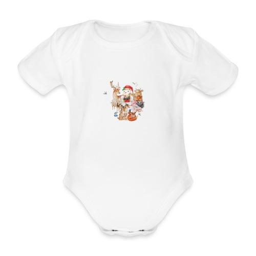 winter animals liggend - Organic Short-sleeved Baby Bodysuit