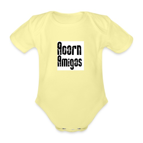 acorn amigos badge - Ekologisk kortärmad babybody