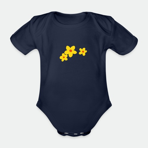 Three Flowers - Organic Short-sleeved Baby Bodysuit