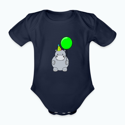 Henri Hippo Party - Appelsin - Ekologisk kortärmad babybody