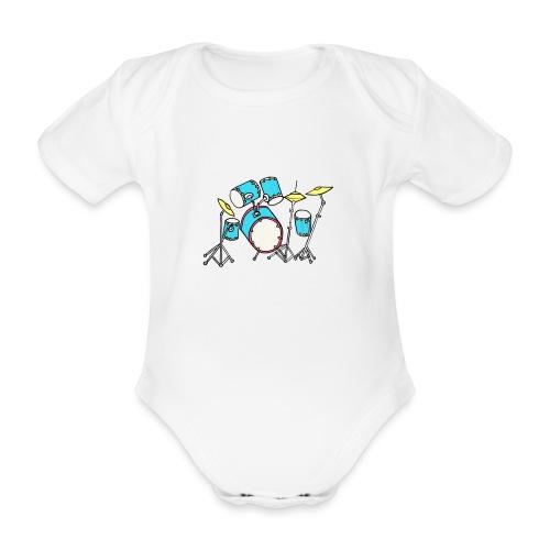 Luigi Drum White - Organic Short-sleeved Baby Bodysuit