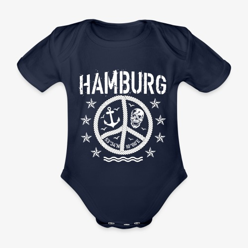 105 Hamburg Peace Anker Seil Koordinaten - Baby Bio-Kurzarm-Body
