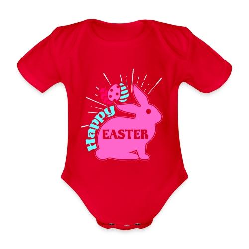 Happy Easter - Frohe Ostern - Baby Bio-Kurzarm-Body