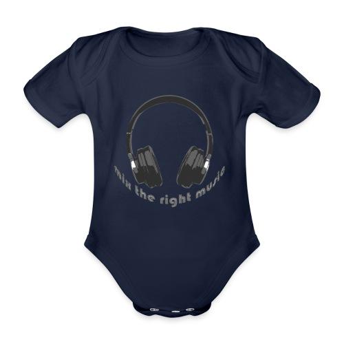 DJ Mix the right music, headphone - Baby bio-rompertje met korte mouwen