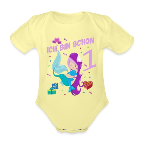 Meerjungfrauen 1 Jahr Geburtstag Geschenk - Baby Bio-Kurzarm-Body