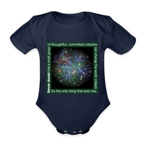 Never doubt that a small group/change the world. - Organic Short-sleeved Baby Bodysuit