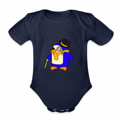 Cute Posh Sunny Yellow Penguin - Organic Short-sleeved Baby Bodysuit