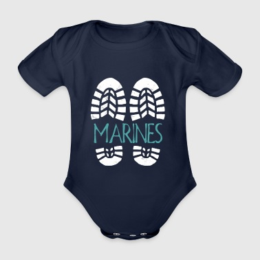 Marines. Color choice. Add your text - Organic Short-sleeved Baby Bodysuit