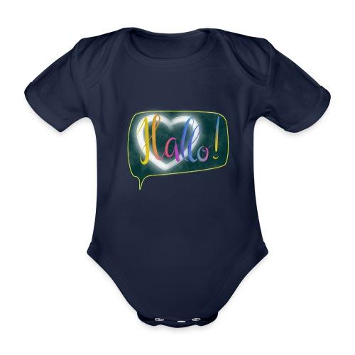 Hallo! Lettering mit Herz in Sprechblase - Baby Bio-Kurzarm-Body
