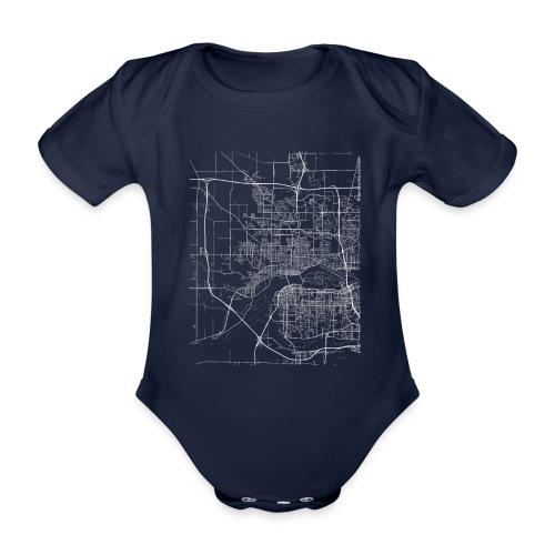 Minimal Davenport city map and streets - Organic Short-sleeved Baby Bodysuit
