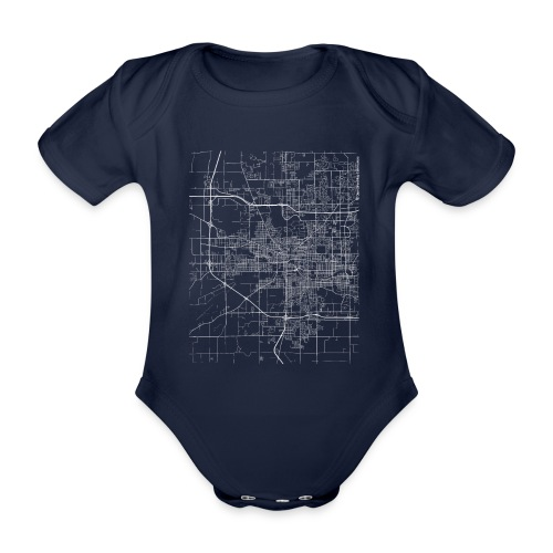 Minimal South Bend city map and streets - Organic Short-sleeved Baby Bodysuit