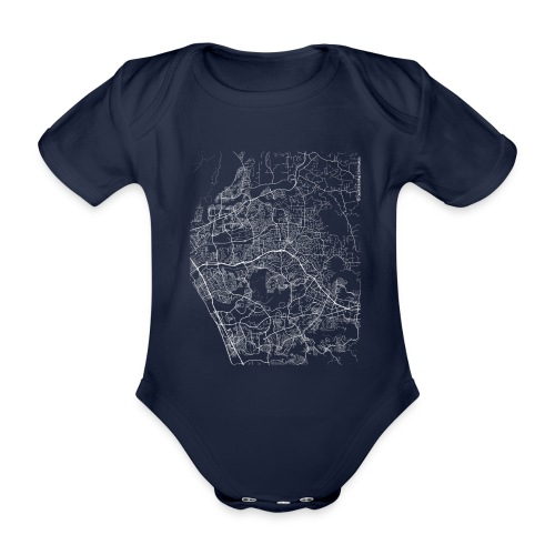 Minimal Vista city map and streets - Organic Short-sleeved Baby Bodysuit
