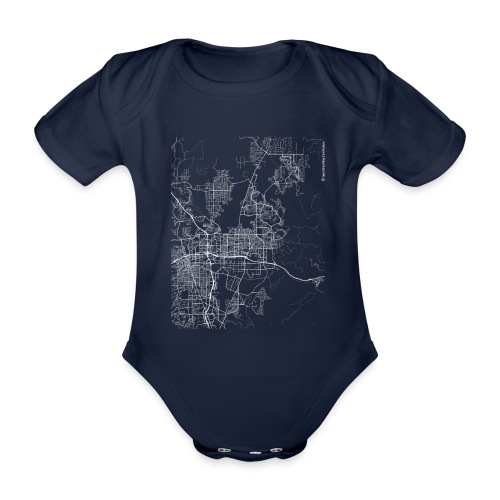 Minimal Sparks city map and streets - Organic Short-sleeved Baby Bodysuit