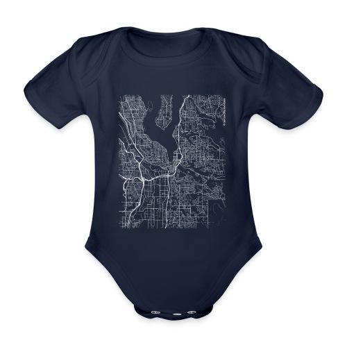 Minimal Renton city map and streets - Organic Short-sleeved Baby Bodysuit