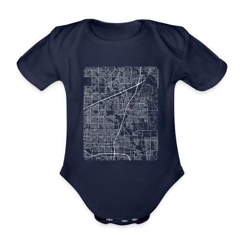 Minimal Allen city map and streets - Organic Short-sleeved Baby Bodysuit