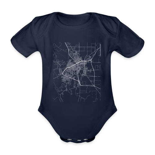 Minimal San Angelo city map and streets - Organic Short-sleeved Baby Bodysuit