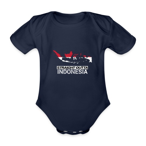 Straight Outta Indonesia country map & flag - Organic Short-sleeved Baby Bodysuit