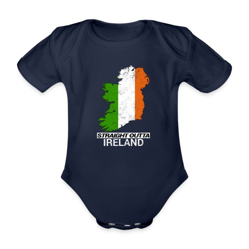 Straight Outta Ireland (Eire) country map flag - Organic Short-sleeved Baby Bodysuit