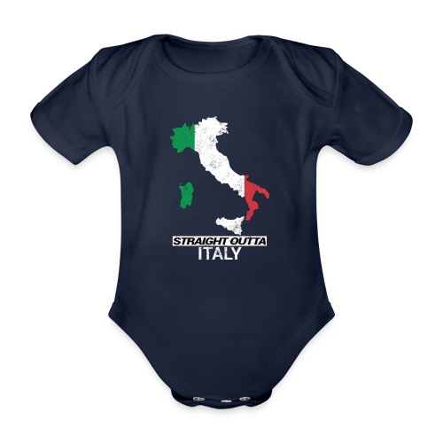 Straight Outta Italy (Italia) country map flag - Organic Short-sleeved Baby Bodysuit