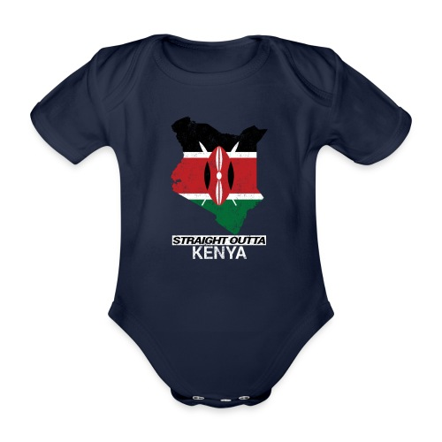 Straight Outta Kenya country map & flag - Organic Short-sleeved Baby Bodysuit