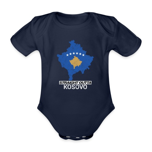 Straight Outta Kosovo country map - Organic Short-sleeved Baby Bodysuit