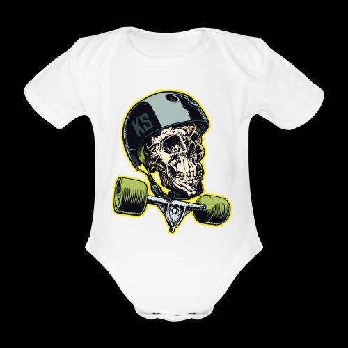 Skull Longboard Rider - colour - Body Bébé bio manches courtes