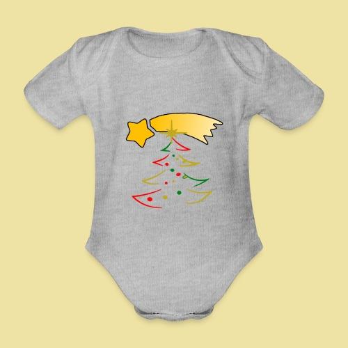 Weihnachtsbaum mit einer Sternschnuppe - Baby Bio-Kurzarm-Body