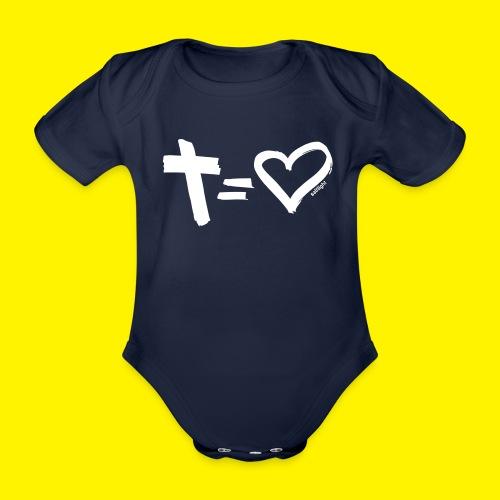 Cross = Heart WHITE // Cross = Love WHITE - Organic Short-sleeved Baby Bodysuit