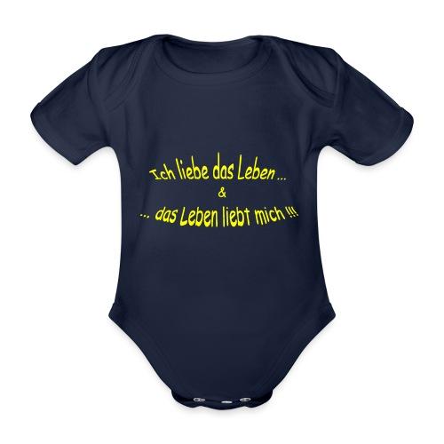 Ich-liebe-das-Leben-gelb - Baby Bio-Kurzarm-Body