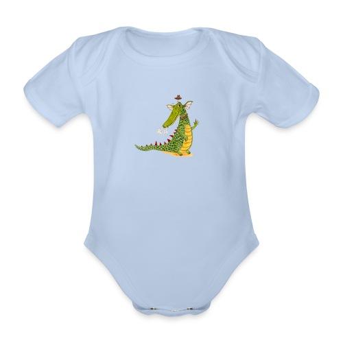 Drachenkrokodil mit weißem Logo - KlingBim - Baby Bio-Kurzarm-Body
