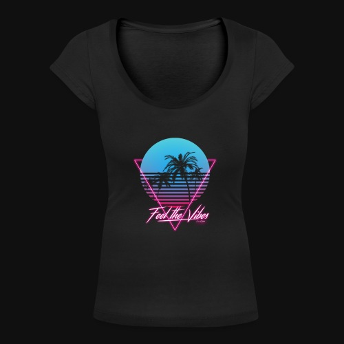 Feel the Vibes - T-shirt scollata donna