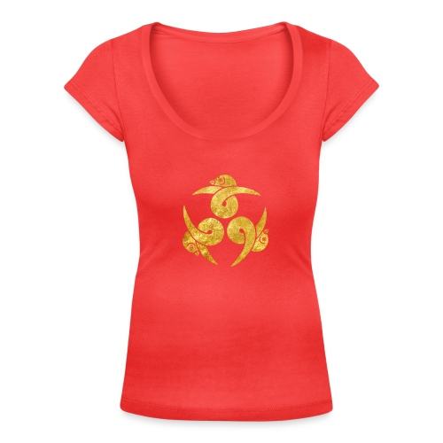 Three Geese Japanese Kamon in gold - Women's Scoop Neck T-Shirt