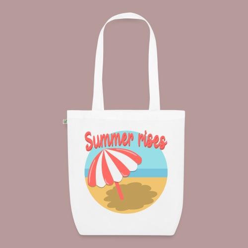 Summer rises parasol sur une plage / mer ciel été - Sac en tissu biologique