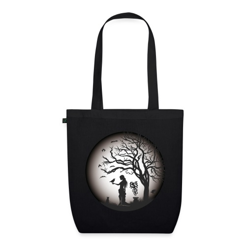Halloween Silhouette s w - Bio-Stoffbeutel